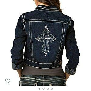 NWT Rose Royce Jamie denim cross embellish jacket